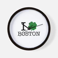 I Shamrock Boston Wall Clock