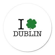 I Shamrock Dublin Round Car Magnet