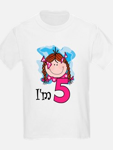 I'm 5 Redhead Girl Kids T-Shirt