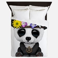 Cute Baby Panda Hippie Queen Duvet