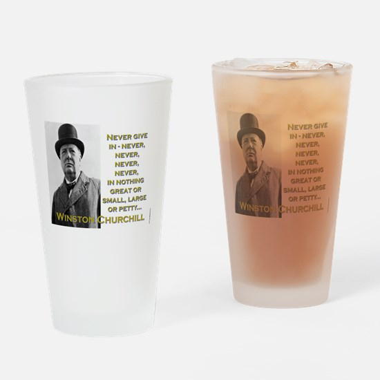 Never Give In - Churchill Drinking Glass