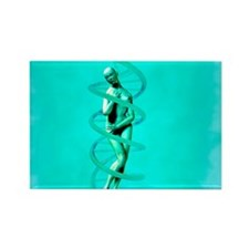 Woman and DNA - Rectangle Magnet (10 pk)