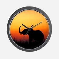 Elephant at Sunset Wall Clock