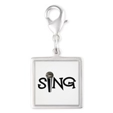 Sing with Microphone Silver Square Charm