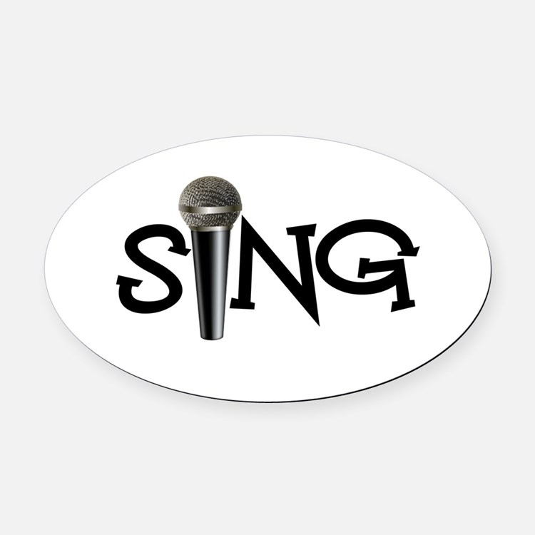 Sing with Microphone Oval Car Magnet
