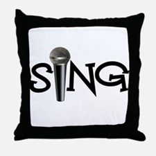Sing with Microphone Throw Pillow
