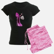 Flying Pink Pig and Stiletto Shoe Art Pajamas