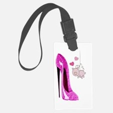 Flying Pink Pig and Stiletto Shoe Art Luggage Tag