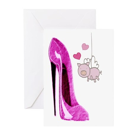 Flying Pink Pig and Stiletto Shoe Art Greeting Car