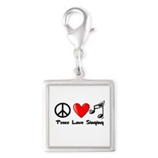 Peace, Love, Singing Silver Square Charm