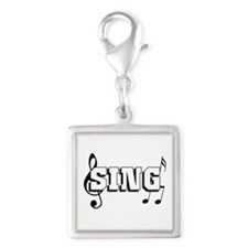 Sing Silver Square Charm