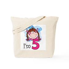 I'm 5 Redhead Girl Tote Bag