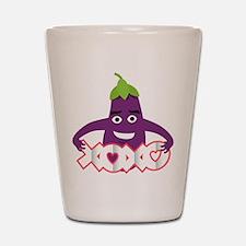 Emoji Eggplant XOXO Shot Glass