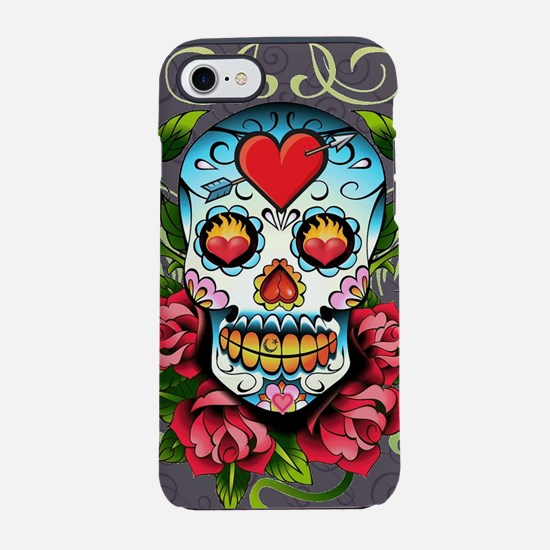 Hearts and Bone Sugar Skull iPhone 7 Tough Case