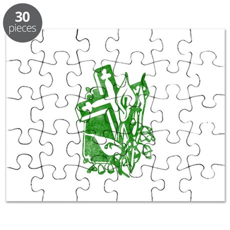Pretty green christian cross 5 U P Puzzle