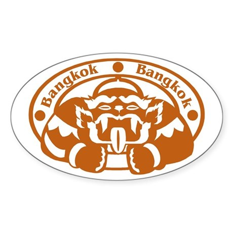 Bangkok Passport Stamp Oval Sticker