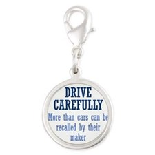 Drive Carefully Silver Round Charm