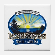 Lake Norman Sun Rays Logo Tile Coaster