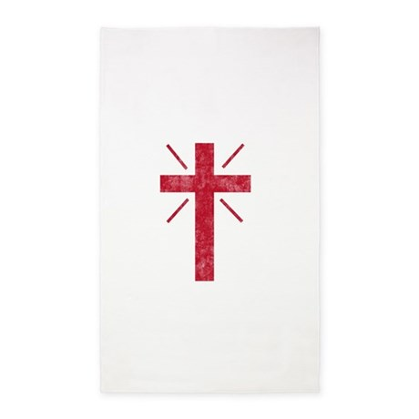 Pretty red christian cross 1 U P 3'x5' Area Rug
