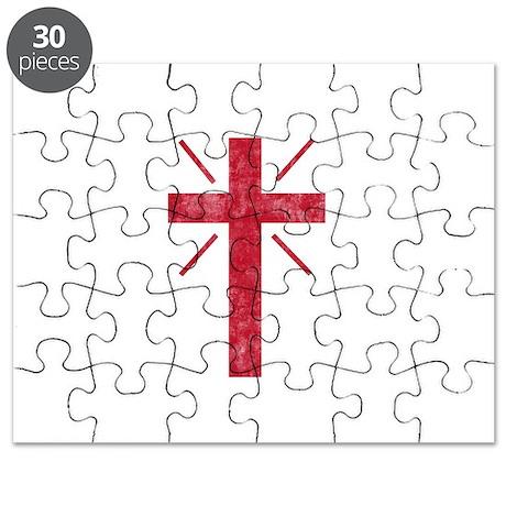 Pretty red christian cross 1 U P Puzzle