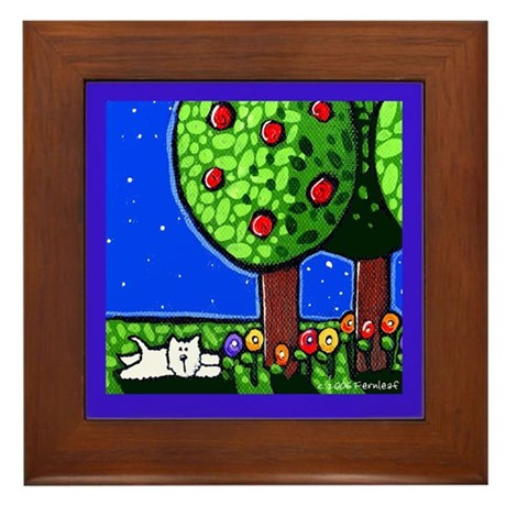 Moonlight Westie Framed Tile