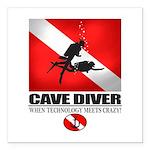 Cave Diver 2 (back) blk Square Car Magnet 3