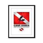 Cave Diver 2 (back) blk Framed Panel Print
