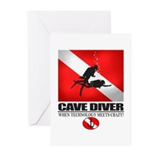 Cave Diver 2 (back) blk Greeting Cards (Pk of 10)