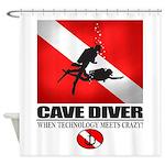 Cave Diver 2 (back) blk Shower Curtain