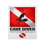 Cave Diver 2 (back) blk Throw Blanket