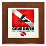 Cave Diver 2 (back) blk Framed Tile