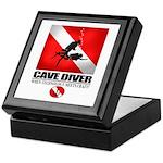 Cave Diver 2 (back) blk Keepsake Box
