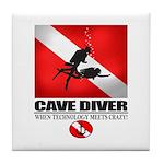 Cave Diver 2 (back) blk Tile Coaster