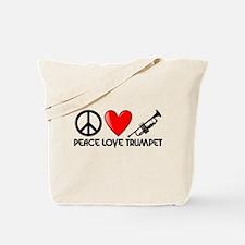 Peace, Love, Trumpet Tote Bag