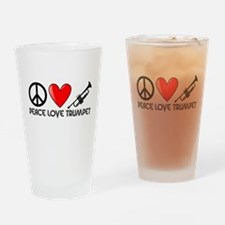 Peace, Love, Trumpet Drinking Glass
