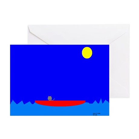 Cat Under a Full Moon Greeting Cards (Pk of 10