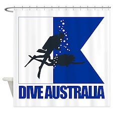 Dive Australia (blue) Shower Curtain