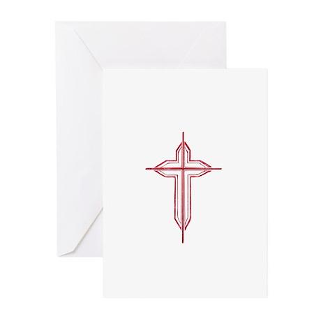 Pretty red christian cross 2 U P Greeting Cards (P