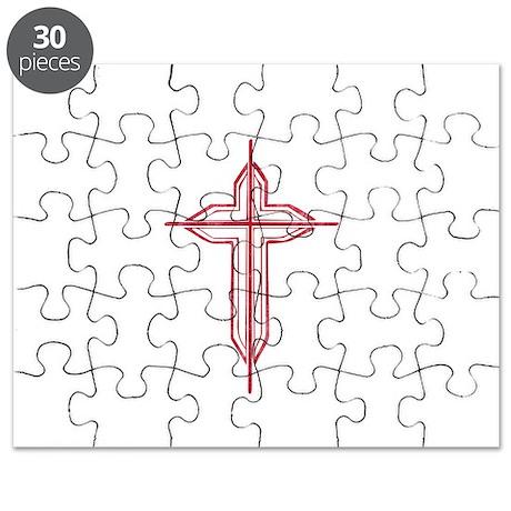 Pretty red christian cross 2 U P Puzzle