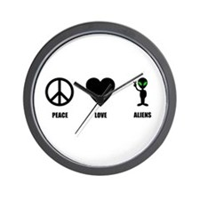 Peace Love Aliens Wall Clock