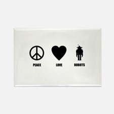 Peace Love Robots Rectangle Magnet (10 pack)
