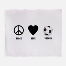 Peace Love Soccer Throw Blanket
