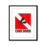 Cave Diver (blk) Framed Panel Print