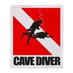 Cave Diver (blk) Throw Blanket