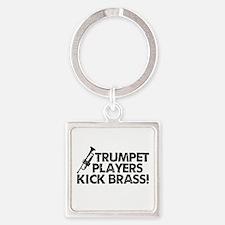 Kick Brass Square Keychain