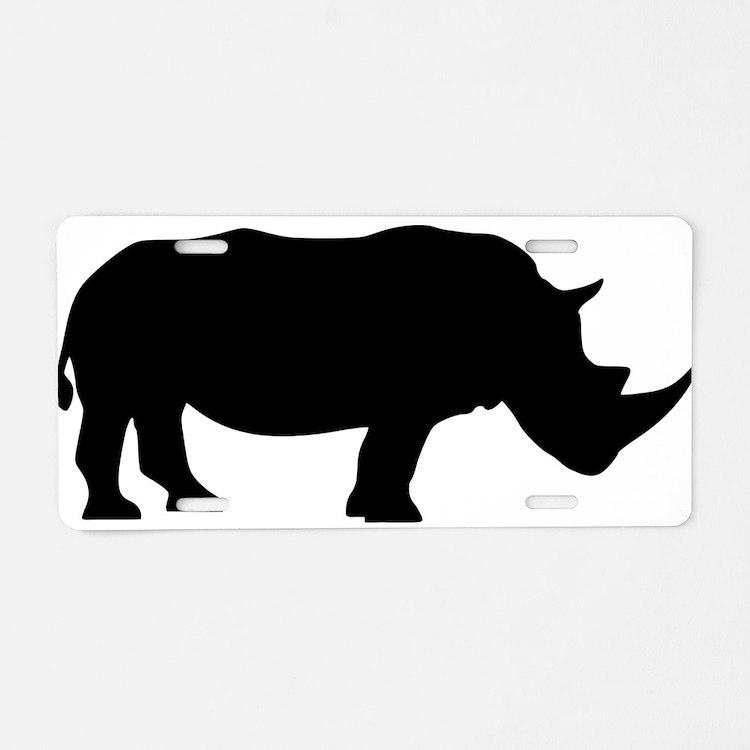 Cute Rhinoceros Aluminum License Plate
