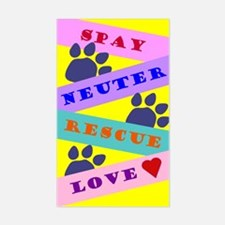 Spay, Neuter, Rescue, Love Rectangle Decal