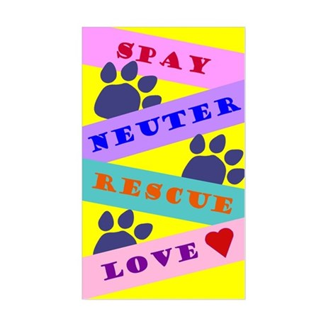 Spay, Neuter, Rescue, Love Rectangle Sticker