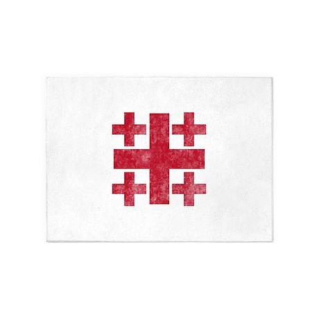 Pretty red christian cross 3 U P 5'x7'Area Rug