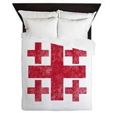 Pretty red christian cross 3 U P Queen Duvet